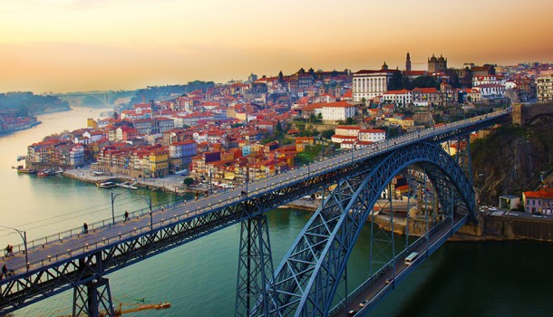 panorama of old Porto at sunset, Portugal