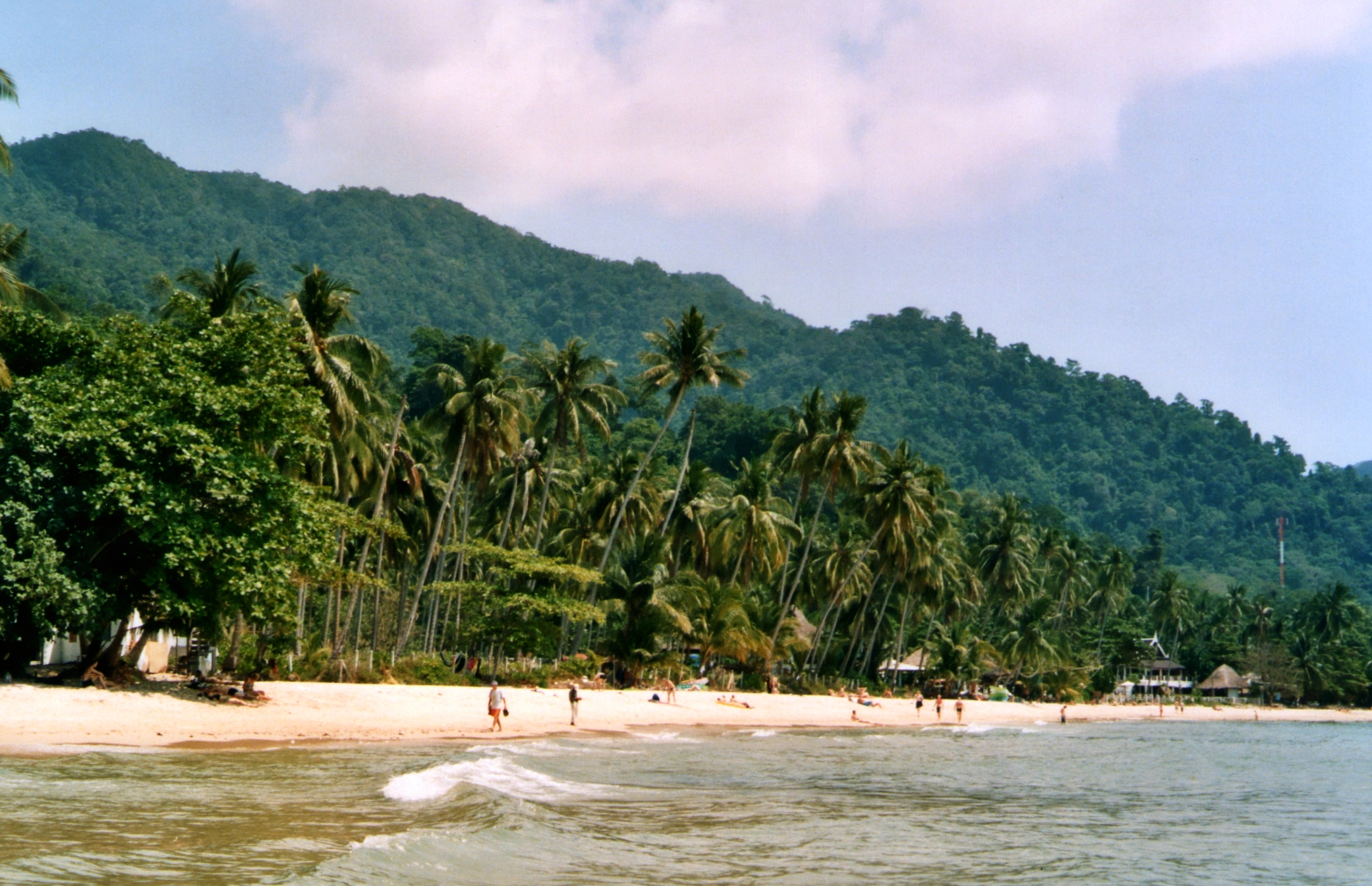 Tropical Lonely Beach, surrounded by palm trees in Koh Chang's west coast, Thailand